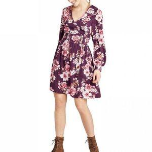 NEW Xhilaration Long Sleeve Floral Dress Purple S